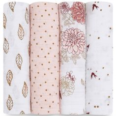 Lot de 4 maxi langes en coton Dahlias (120 x 120 cm)
