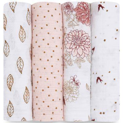 Lot de 4 maxi langes en coton Dahlias (120 x 120 cm)  par aden + anais