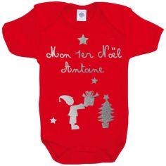 Body Noël rouge à manches courtes personnalisable (0-6 ou 6-12 mois)