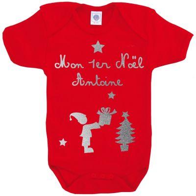 Body Noël rouge à manches courtes personnalisable (0-6 ou 6-12 mois)  par Les Griottes
