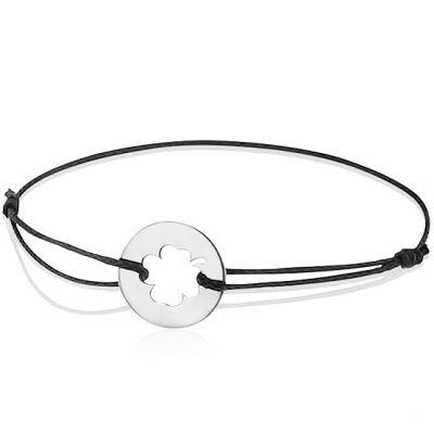 Bracelet cordon enfant Trèfle (or blanc 750°)   par A.Augis