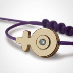 Bracelet cordon SexSymbol fille pierre précieuse ou fine (or jaune 750°)