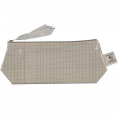 Trousse en coton enduit cahier d'écolier (13 x 22 cm)
