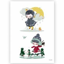 Affiche A3 Les 4 saisons automne hiver  par Kanzilue