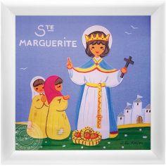 Tableau religieux Ste Marguerite Saint Patron personnalisable (15 x 15 cm)