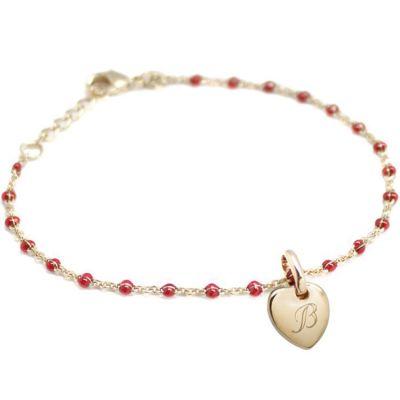 Bracelet médaille coeur chaîne perlée rouge personnalisable (plaqué or, émail) Petits trésors