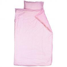 Housse de couette et taie d'oreiller Vichy rose (100 x 135 cm)