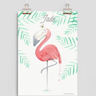 Affiche A4 Flamant rose (personnalisable)  par Gaëlle Duval