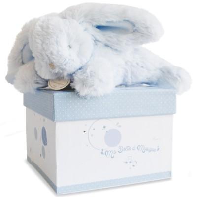 Coffret peluche musicale lapin bleu (20 cm) Doudou et Compagnie