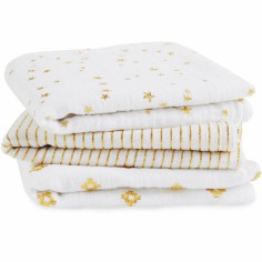 Lot de 3 langes Musy Metallic gold (70 x 70 cm)