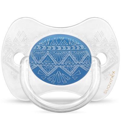 Sucette anatomique réversible Couture Ethnic bleu foncé en silicone (0-4 mois)  par Suavinex
