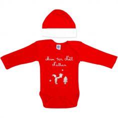 Ensemble body et bonnet Mon premier Noël rouge à manches longues personnalisable (0-6 mois)