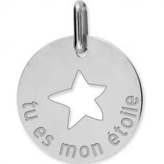 Médaille tu es mon étoile personnalisable (or blanc 750°)