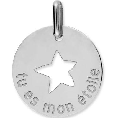 Médaille tu es mon étoile personnalisable (or blanc 750°)  par Lucas Lucor
