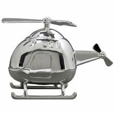 Tirelire Hélicoptère (métal argenté)