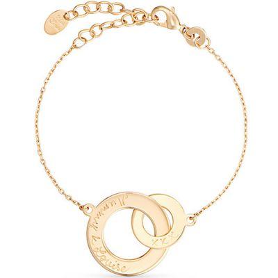 Bracelet Anneaux entrelacés personnalisable (plaqué or) Merci Maman