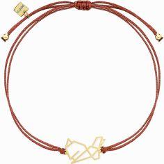 Bracelet sur cordon bordeaux lapin Origami (vermeil doré)