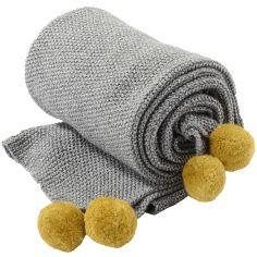 Couverture en coton bio Pompon jaune (90 x 70 cm)