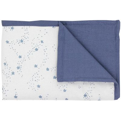 couverture en coton r versible etoiles bleue 100 x 70 cm. Black Bedroom Furniture Sets. Home Design Ideas