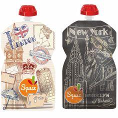 Pack de 2 gourdes réutilisables Londres New York (130 ml)
