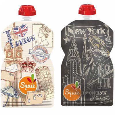 Pack de 2 gourdes réutilisables Londres New York (130 ml)  par Squiz