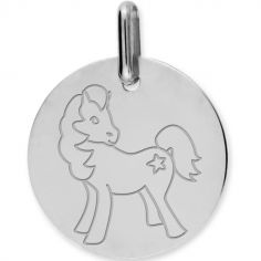 Médaille cheval personnalisable (or blanc 375°)