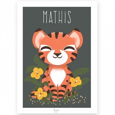 Affiche A4 Les Animignons le tigre (personnalisable)  par Kanzilue