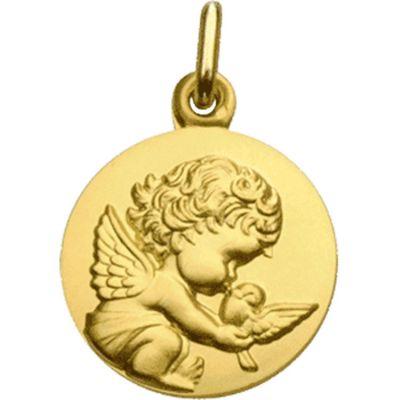 Médaille Ange à la colombe personnalisable (or jaune 750°)