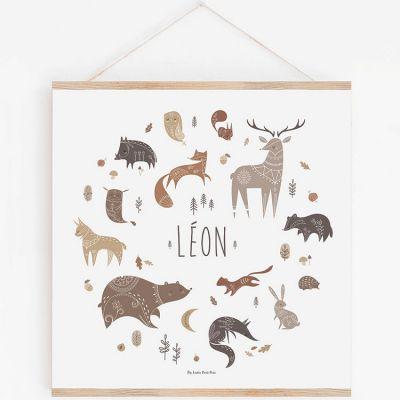 Affiche carrée animaux Wood avec support personnalisable (29,7 x 29,7 cm)  par Lutin Petit Pois