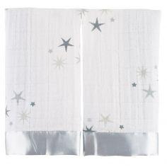 Lot de 2 mini langes doudous Issie Twinkle étoiles grises (40 x 40 cm)