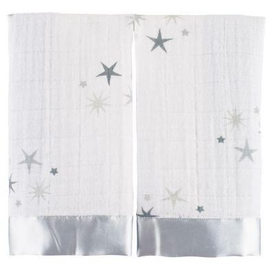 Lot de 2 mini langes doudous Issie Twinkle étoiles grises (40 x 40 cm)  par aden + anais