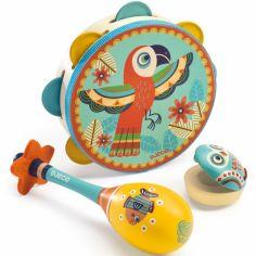 Set de trois instruments (Tambourin, maracas et castagnettes)