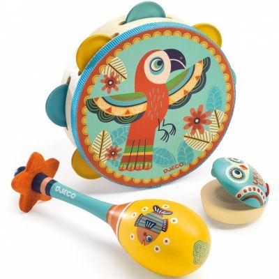 Set de trois instruments (Tambourin, maracas et castagnettes)  par Djeco