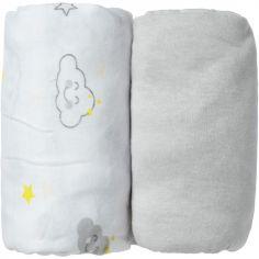 Lot de 2 draps housse Nuage gris (60 x 120 cm)
