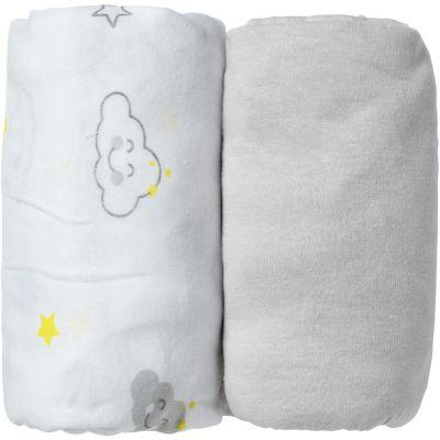 Lot de 2 draps housse Nuage gris (60 x 120 cm)  par Babycalin