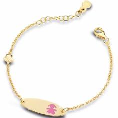 Bracelet sur chaîne Primegioie fille ovale allongé émail rose avec étoile (or jaune 375°)