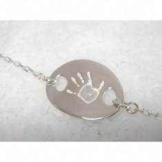 Bracelet empreinte gourmette mini galet chaîne simple 18 cm (or blanc 750°)