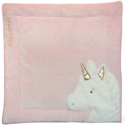 Tapis de jeu Tapidou Ma jolie licorne rose (100 x 100 cm)  par Doudou et Compagnie