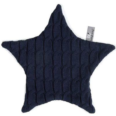 Doudou plat étoile Cable Uni bleu marine (30 cm) Baby's Only
