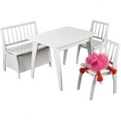 Ensemble table et chaises Bambino blanc (4 pièces)