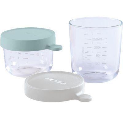 Lot de 2 pots de conservation en verre Portion vert d'eau (150 ml et 250 ml) Béaba