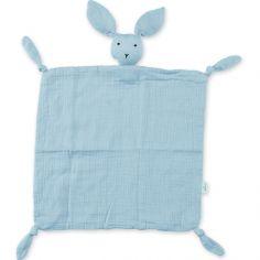 Doudou plat attache sucette Bunny bleu gris breeze (40 cm)