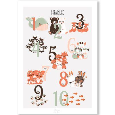 Affiche A4 Compter jusqu'à 10 (personnalisable)  par Kanzilue
