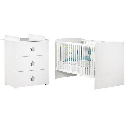 Pack duo lit bébé évolutif Little Big Bed blanc et commode à langer étoile New Basic  par Baby Price
