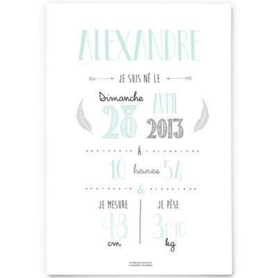 Affiche de naissance A3 vert mint (personnalisable)  par La Poupette à paillettes