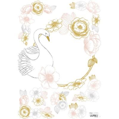 Planche de stickers A3 de cygne et fleurs  par Lilipinso