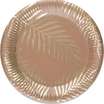 Lot de 8 assiettes en carton kraft Tropi Chic palmier  par Arty Fêtes Factory