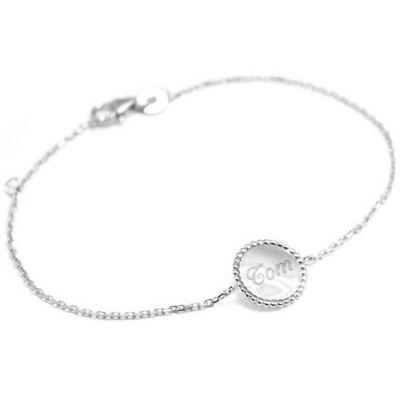 Bracelet Jeton perlé personnalisable (argent 925°) Petits trésors