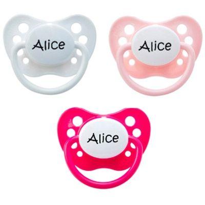 Lot de 3 sucettes personnalisables fille physiologiques Nip classic en silicone (3-36 mois)  par Baby Tute