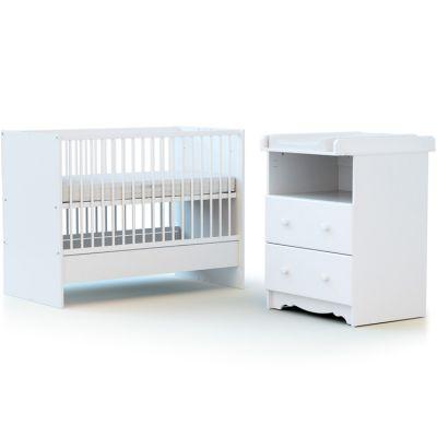 Pack duo lit bébé évolutif et commode à langer en bois de hêtre Marelle blanc AT4